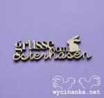 "inscription ""grüsse vom osterhasen"" with bunny,3 mm plywood"