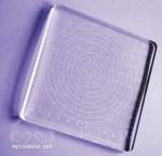 engraved, transparent stamp block,12x12x1 cm