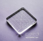 engraved, transparent stamp block, 8x8x1 cm