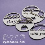 round tags with inscriptions, 5 pieces