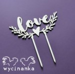 "topper na tort ""love"" z ornamentem, sklejka 3mm"