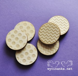 badges/buttons arrows and dots, plywood 3 mm