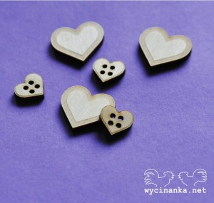 badges & buttons hearts, sklejka 3 mm