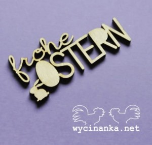"inscription ""frohe OSTERN"" with bunny, sklejka 3 mm"