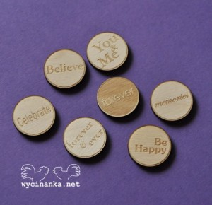 badges/buttons, mix 2, 3mm plywood