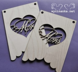 pennants Mr &  Mrs, sklejka 3 mm