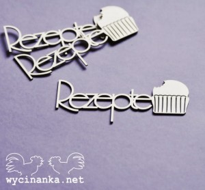 "inscription ""Rezepte"" with cupcake , 3 pcs"