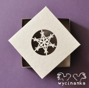"WINTER DOODLES - box with openwork top ""star"" - 10x10x3 cm, colour ""KRAFT"""