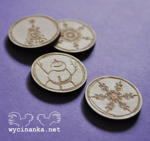 CHRISTMAS DOODLES - badges, plywood 3mm, 4 pcs.