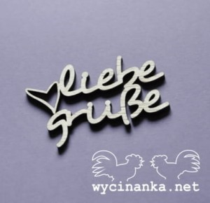 "word ""liebe grüße"" with heart, plywood 3mm"