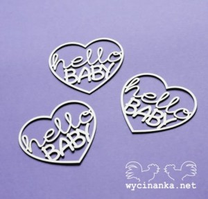 "HELLO BABY -text""hello BABY"" in heart, 3 pcs."