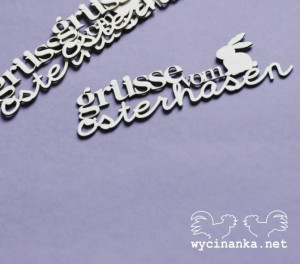 "inscription ""grüsse vom osterhasen"" with bunny, 3 pcs."