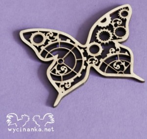 STEAMPUNK TIME - butterfly, 3 mm plywood
