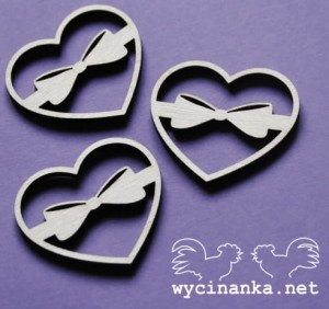 LOVE LETTER - hearts with bows, 3 mm plywood